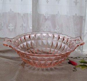 Windsor Pattern Depression Glass Handled Serving Bowl - Pink