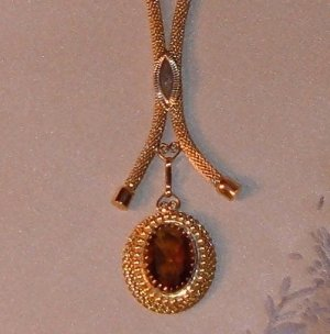 Vintage Sarah Coventry Lavalier Necklace with Amber Rhinestone