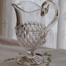 Diamond Point Footed Creamer with Applied Handle - Antique Pressed Glass