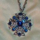Vintage Blue Rhinestone Pendant - Greek Cross in Silvertone