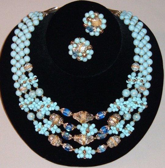 Vintage Japan Glass Bead Necklace, Earrings in Blue
