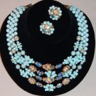 Vintage Japan Glass Bead Necklace, Earrings in Blue