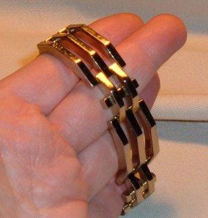 Vintage Jewelry Monet Bracelet 1950s Heavy Art Deco Style