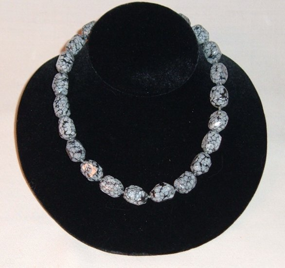 Snowflake Obisdian Bead Strand Necklace - Faceted Stones