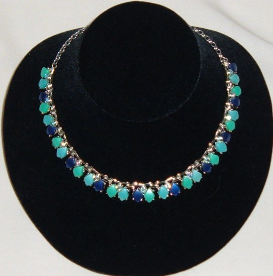 Vintage Coro Necklace - Thermoset and Rhinestones in Blue