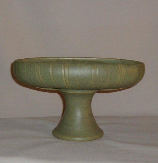 Vintage McCoy Pottery Floraline Pedestal Planter in Matte Green