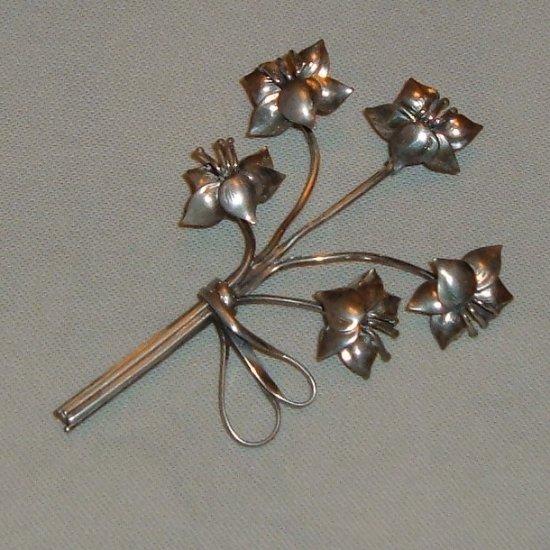 Vintage Lang Sterling Brooch Floral Spray