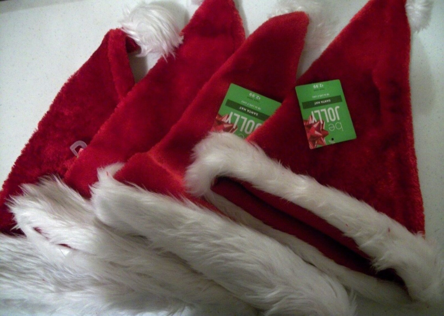Four Adult Size Be Jolly Santa Hats