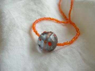 Orange Necklace With Glass Bead