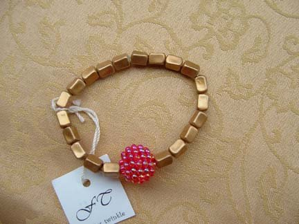 Gold And Raspberry Bracelet