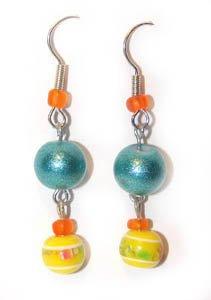 Handmade Earrings #1 - Yellow Teal Orange Glass Beads