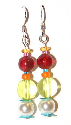 Handmade Earrings #4 - Faux Pearl Green Red Beads
