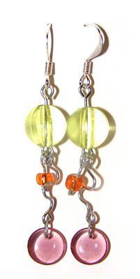 Handmade Earrings #7 - Green Pink Orange Glass Beads