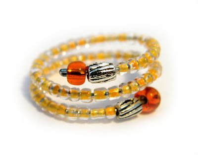 Handmade Ring #1 - Orange Glass Beads