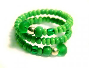 Handmade Ring #4 - Green Seed Beads
