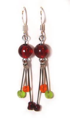 Handmade Earrings #12 - Red, Green and Orange Beads