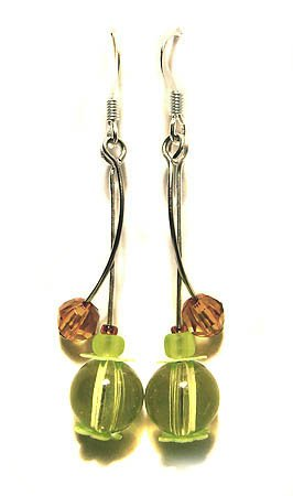 Handmade Earrings #20 - Green Brown Beads