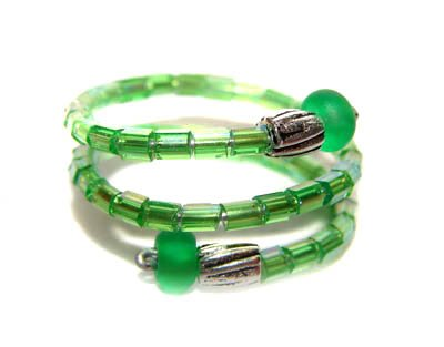 Handmade Ring #2 - Green Glass Beads