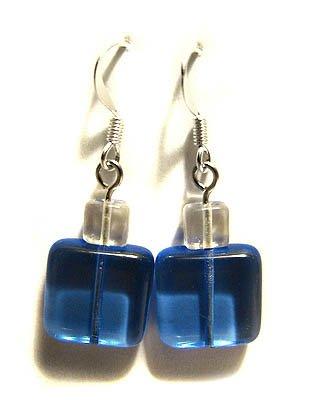 Handmade Earrings #16 - Blue Square Glass Beads