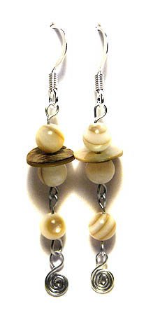 Handmade Earrings #17 - Motherpearl and Shell Beads