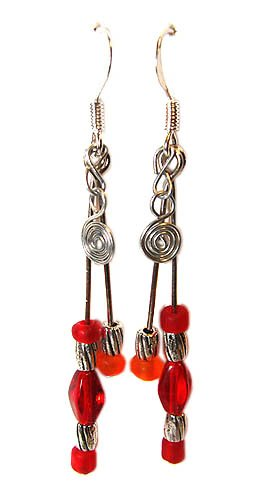 Handmade Earrings #23 - Red and Orange Glass Beads