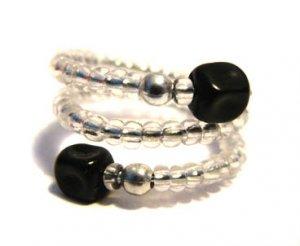 Handmade Ring #8 - Black and Transparent Beads