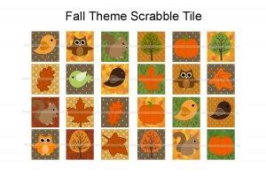 Fall theme scrabble tile size 4x6 digital collage sheet