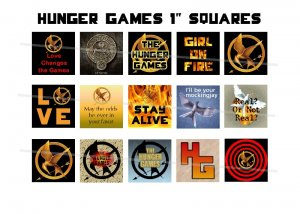 Hunger Games theme 1 inch squares 4x6 digital collage sheet