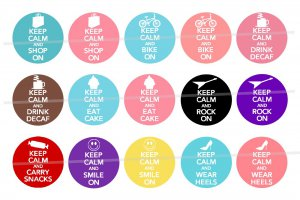 Keep Calm and Carry On theme 4 x 6 digital collage sheet of 1 inch circles