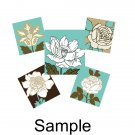 Blue and Beige Florals scrabble tile size 4x6 digital collage sheet