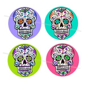 Sugar Skulls 4 x 6 digital collage sheet of 1 inch circles