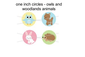 Woodland Animals full size digital collage sheet of 1 inch circles
