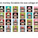 Sock Monkeys scrabble tile size 4x6 digital collage sheet