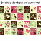 Pink and green floral scrabble tile size 4x6 digital collage sheet