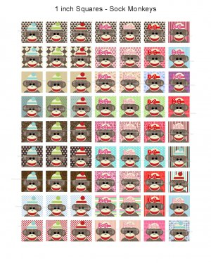 Sock Monkeys on 1 inch squares full size digital collage sheet