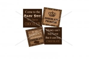 Fun Chocolate theme 1 inch squares 4x6 digital collage sheet for scrabble tiles, magnets and more