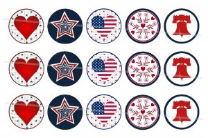 American theme 4 x 6 digital collage sheet of 1 inch circles for Bottle Caps, Magnets and more