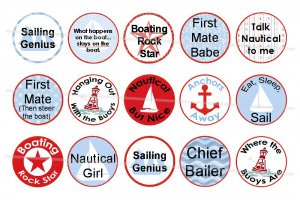 Nautical but Nice 4 x 6 digital collage sheet of 1 inch circles for Bottle Caps, Magnets and more