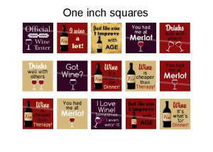Amusing wine theme 1 inch squares 4x6 digital collage sheet for scrabble tiles, magnets and more