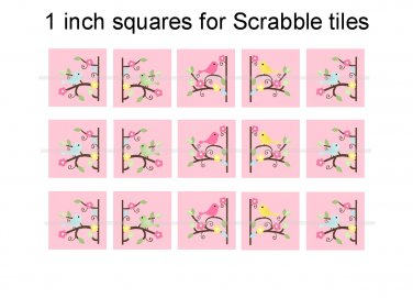 Pretty birds and branches theme 1 inch squares 4x6 digital collage sheet