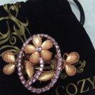 Cozy Beautiful Vintage Crystal Shining Pink Flower Hair Clip Elegant Hair Gripper Accessories