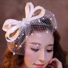 Handmade Vintage Bow Birdcage Veil Bridal Veil Lace Beading White Classy Wedding Hair Piece