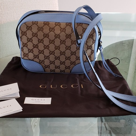 Gucci Women Light Blue Leather Canvas GG Guccissima Bree Camera Disco Crossbody Bag Brand New