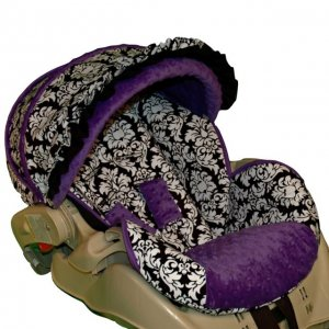 Custom Infant Car Seat Cover Dandy Damask Purple