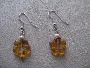 Amber Flower Earrings