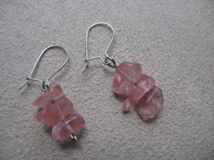Short Pink Chip Dangle Earrings
