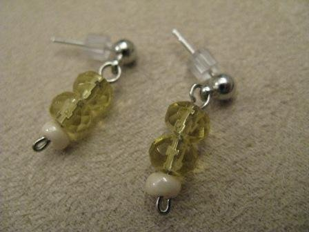 Yellow Cream Short Dangle Earrings