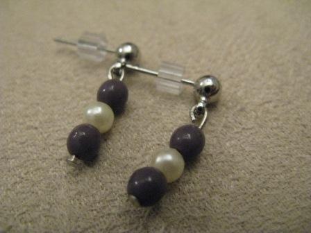 Deep Purple & Pearl Colored Post Earrings