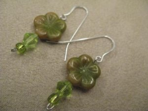 Green and Multi-colored Flower Earrings
