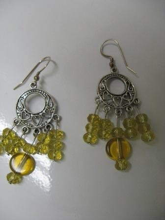 Yellow Glass Bead Chandelier Earrings